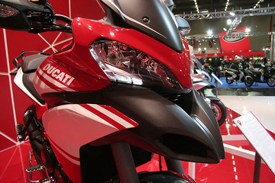 3/10: Launch of the 2013 Ducati motorcycle range, including the new updated Multistrada 1200 Pikes Peak edition, at the Intermot International Motorcycle Show in Cologne, Germany, Oct 2012.