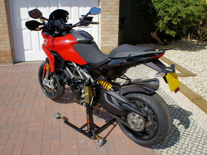 "<p>Bursig Motorcycle Side Lift Stand for the Multistrada 1200 - <b><a target=""_blank"" href=""http://www.motorcycleinfo.co.uk/index.cfm?fa=contentGeneric.xijqbtkwbucbcvcu&pageId=5148005"">See HERE</a></b></p> 14/16: Bike up on the stand"