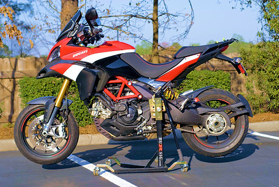 1/2: Bursig Motorcycle Side Lift Stand for the Ducati Multistrada 1200 - photo by ducati.ms member 'Easty' (aka Brian)  See: Bursig Motorcycle Stand - MTS1200