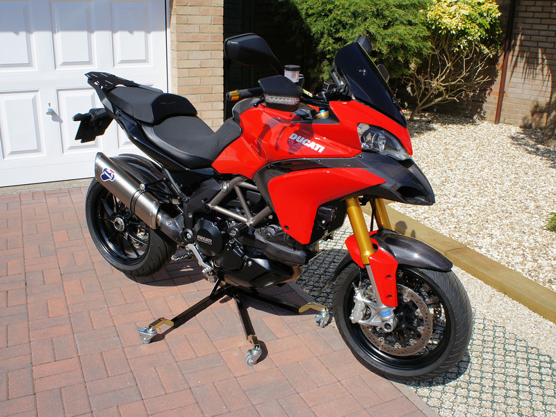 "<p>Bursig Motorcycle Side Lift Stand for the Multistrada 1200 - <b><a target=""_blank"" href=""http://www.motorcycleinfo.co.uk/index.cfm?fa=contentGeneric.xijqbtkwbucbcvcu&pageId=5148005"">See HERE</a></b></p> 16/16: Bike up on the stand"