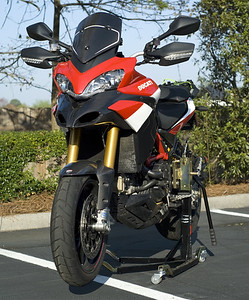 2/2: Bursig Motorcycle Side Lift Stand for the Ducati Multistrada 1200 - photo by ducati.ms member 'Easty' (aka Brian)  See: Bursig Motorcycle Stand - MTS1200