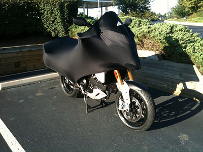 Geza Super Light Stretch motorcycle cover Photo of covered Multistrada 1200 by ScottG 'Aurelius'