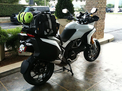 MotoFizz Large Camping Bag (Extensions Closed) Photo of loaded Multistrada 1200 by ScottG 'Aurelius'