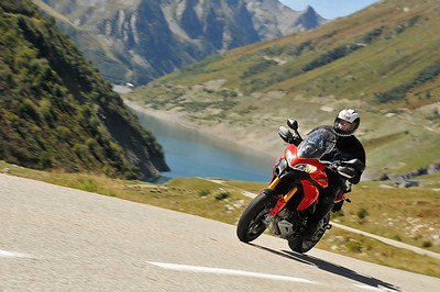 ......and Pierre enjoying his MTS1200 on the mountain roads... Glandon Pass, Mont Blanc