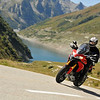 ......and Pierre <b>enjoying</b> his MTS1200 on the mountain roads... Glandon Pass, Mont Blanc