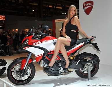 EICMA 2012 - girl / female model posing for a photo on the new 2013 Multistrada 1200 Pikes Peak