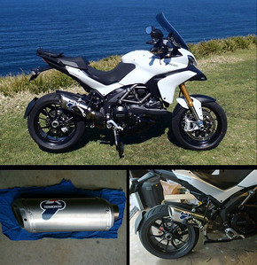 Ducati Multistrada 1200 full Termignoni exhaust system - cut down silencer (muffler) end can. Article here:  http://www.motorcycleinfo.co.uk/index.cfm?fa=contentGeneric.xcqsqfklorcyzcxw&pageId=1589737