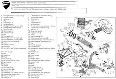 Multistrada 1200 full Termignoni 'race' exhaust system - extract from Ducati installation / fitting instructions...  See: Multistrada 1200 - Termignoni Full Exhaust System Install