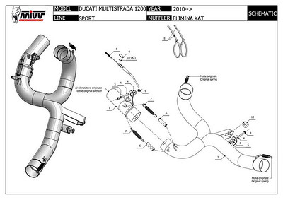 Multistrada 1200 exhaust CAT box - Retain the standard ' OE Multistrada 1200 Exhaust silencer but replace the huge and heavy exhaust CAT box with a bypass pipe: MIVV decat pipe D.027.C1 (now D.027.C3) http://www.mivv.it/en  See: Multistrada 1200 Exhausts Systems & Exhaust Modifications   http://www.motorcycleinfo.co.uk/index.cfm?fa=contentGeneric.qsconequekcvtgsq&pageId=2227905