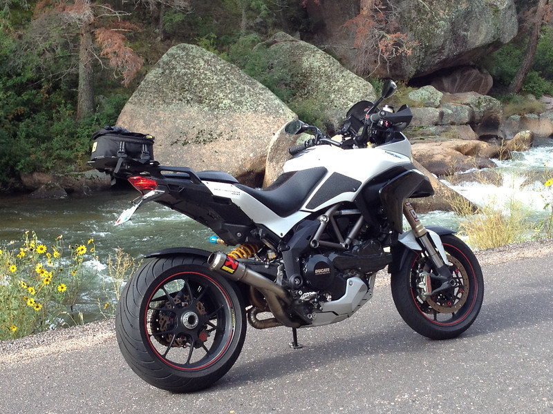 """Full Akrapovic exhaust system for the DUCATI Multistrada 1200, 1200S, 1200 S Touring <br />  <a href=""""http://www.akrapovic.com/"""">http://www.akrapovic.com/</a><br /> Thanks to 'ebrew' (aka Erik) for the photo<br /> <br /> See: Multistrada 1200 Exhausts Systems & Exhaust Modifications <br />  <a href=""""http://www.motorcycleinfo.co.uk/index.cfm?fa=contentGeneric.qsconequekcvtgsq&pageId=2227905"""">http://www.motorcycleinfo.co.uk/index.cfm?fa=contentGeneric.qsconequekcvtgsq&pageId=2227905</a>"""