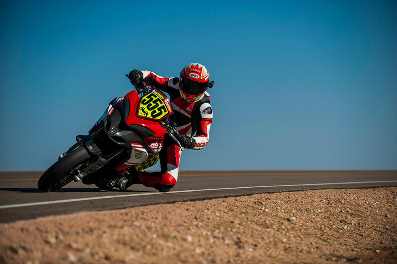 "8/8: August 2012 - Ducati Multistrada 1200 wins Pikes Peak again! The Ducati Multistrada 1200 S Pikes Peak wins for 3rd time. Both Carlin Dunne and Spider Grips Ducati team mate and six-time winner Greg Tracy finished the race under the 10-minute barrier, which is a first for any motorcycle in the race's 90-year history. Dunne crossed the finish line at the 14,110-foot summit of Pikes Peak with the record-setting time of 9:52.819, beating his previous record of 11:11.32, while Tracy was less than six seconds behind, placing second with 9:58.262. See:  <b><a target=""_blank"" href=""http://www.motorcycleinfo.co.uk/index.cfm?fa=contentGeneric.wuyjdrgpolhdvlck"">Multistrada 1200 Info & Resources</a></b>"