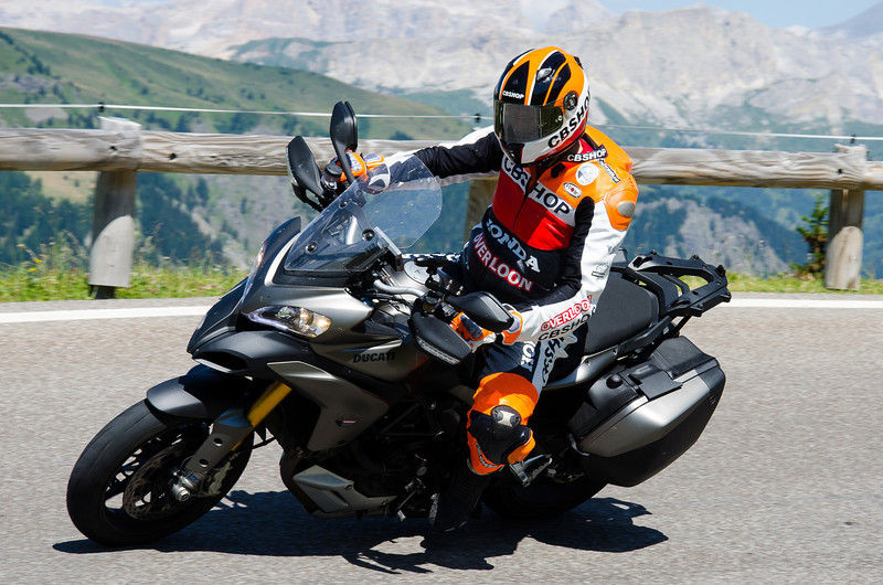 Dutch Multistrada 1200 owner Marcel enjoying his MTS1200 on mountain roads - Podoi mountain in the Italian Dolomites July 2012