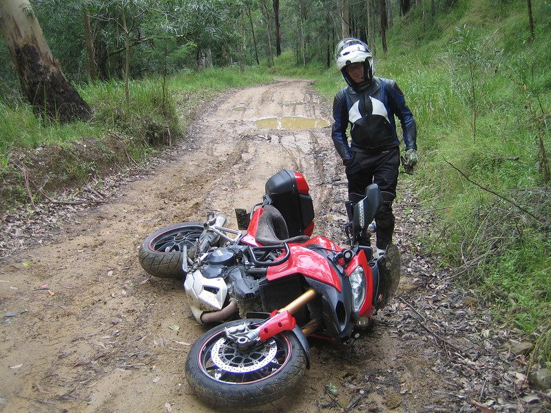 "Wit likes riding the Australian dirt tracks on his Multistrada 1200.......things go a bit horizontal occasionally though!<br /> Multistrada 1200 "" lying down"" by Ducati.ms member 'wcieslik'"