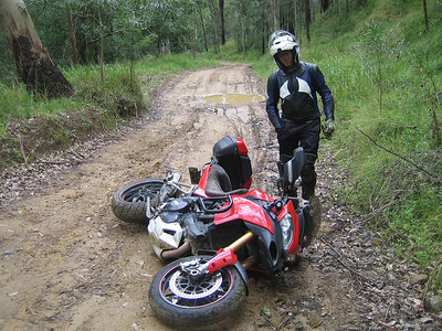 "Wit likes riding the Australian dirt tracks on his Multistrada 1200.......things go a bit horizontal occasionally though! Multistrada 1200 "" lying down"" by Ducati.ms member 'wcieslik'"