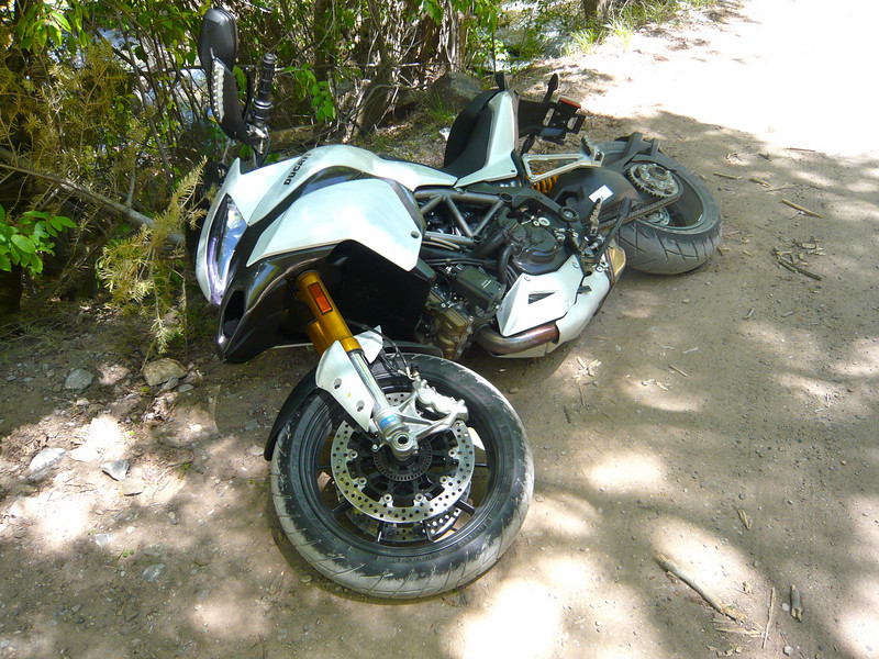 """Oops, a little acident! Multistrada 1200S Sport Demo bike - ride report. New Mexico, USA See the ride report by ADVRider.com member 'Dr Greg' <b><a href=""""http://www.mts1200.info"""">HERE</a></b>"""