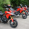 1/6: Multistrada owners - Popham Airfield Sat 02 June 2012: 5 red Multistrada 1200s (AndyW, Anthil, Kirky, PilotPaul & Pete1950).<br /> Small numbers unsurprising, short notice of meet, a Saturday, the weather forecast and the Jubilee celebrations weekend!
