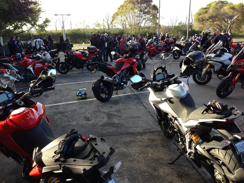 1/2: Australian Multistrada 1200 owners meeting / rideout arranged by Fraser Motorcycles, a Sydney Ducati Dealer, April 2013.<br /> 711 Service station at Berowra just above Sydney. Photo by Robin (aka Rblacky)