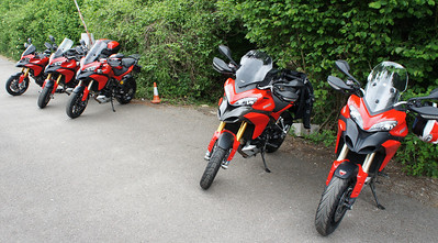 2/6: Multistrada owners - Popham Airfield Sat 02 June 2012: 5 red Multistrada 1200s (AndyW, Anthil, Kirky, PilotPaul & Pete1950). Small numbers unsurprising, short notice of meet, a Saturday, the weather forecast and the Jubilee celebrations weekend!