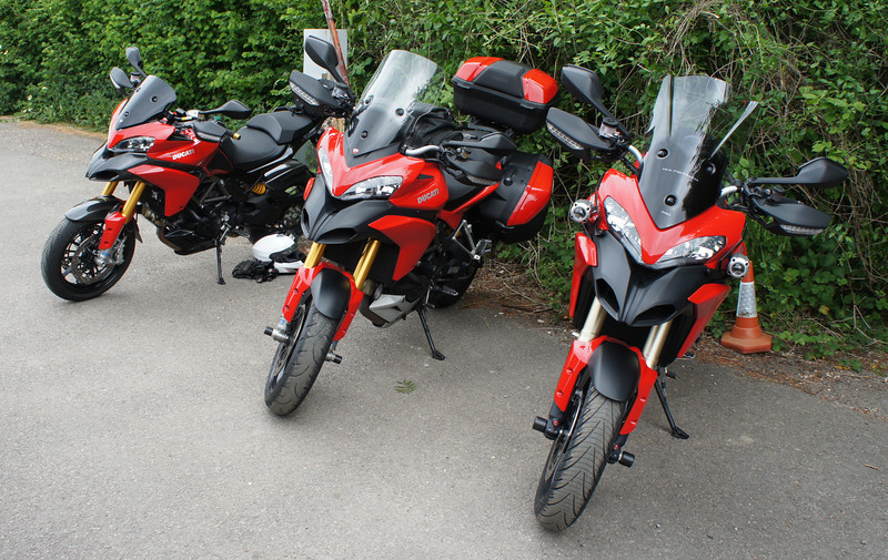 3/6: Multistrada owners - Popham Airfield Sat 02 June 2012: 5 red Multistrada 1200s (AndyW, Anthil, Kirky, PilotPaul & Pete1950).<br /> Small numbers unsurprising, short notice of meet, a Saturday, the weather forecast and the Jubilee celebrations weekend!