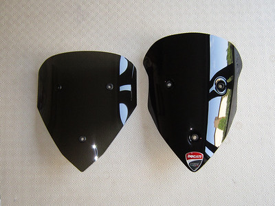 6/11 - AndyW's DIY shorty dark Multistrada 1200 screen.   See article HERE  5) Inside of screen keyed (rubbed down) with fine wire wool, clear plastic primer coat and finished with black satin auto paint. Comparison with the CalSci screen