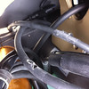 1/7 - Multistrada 1200 brake front lines and control cables damage - check your and/or refer to your Dealer Photos by Ducatisti.co.uk member 'kfabi1' (aka Kevin)...<i>MTS Touring 1200 about 4.5k miles 1 yr old. Noticed some bad chafing on the two hydraulic cables that run down the left side of the steering head. Upon further examination I discoverd that on full lock these cables are pinched quite badly against the gold casting on the steering head frame dammaging the rubber protection around the hoses. I also discovered that an electrical connector lower down was not located in a proper fashion causing further damage to the hoses out of veiw.....</i> <b>Read the full story and updates here:   http://www.ducatisti.co.uk/forum/ducati-multistrada-1200/59192-danger-break-hoses.html</b>