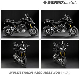 It appears that some people are not too keen on the Multistrada 1200's nose or beak (air intakes). Photoshop image from 'Dry' on a Polish Ducati forum:  http://desmosilesia.pl/forum/viewtopic.php?t=335&highlight=multistrada More info HERE