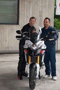 "http://www.motoblog.it - 07May2010 ""today we received from Team Motoart Ticino Ducati with which the great Troy Bayliss began their tour of Switzerland. The Ducati Multistrada 1200 Replica Bayliss delivered to the world champion has been specifically designed by extremedesigns with the colors of the pilot."