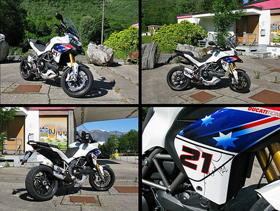 Compilation of 4 photos of the 'Try Bayliss' Ducati Multistrada 1200 Please let me know if you know the source of the original images (not the ducati.ms forum where they were reposted;-)