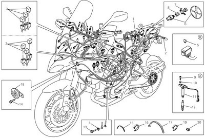 Ducati Multistrada 1200 electrical systems schematic See the Owners Manual pages 189,190 and 203 for wiring diagrams (see links below for PDF versions of the manuals;-)   http://www.motorcycleinfo.co.uk/index.cfm?fa=contentGeneric.wuyjdrgpolhdvlck&pageId=1199506