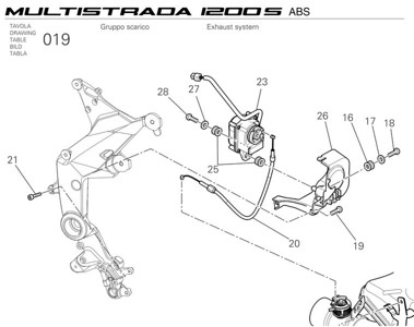 Ducati Multistrada 1200 - OE exhaust system components - exhaust valve actuator motor / solenoid  Multistrada 1200 / 1200S 'How to & FAQs'
