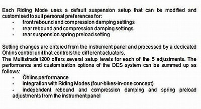 Ducati Multistrada 1200 Ohlins electronic suspension settings (see next image;-) Image by Dave_R_996 -  http://www.ducati.ms/forums/forumdisplay.php?f=44   Multistrada 1200 / 1200S 'How to & FAQs'