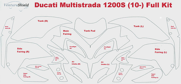 VentureShield® Paint Protection Film for Ducati Multistrada 1200 / 1200S - full kit coverage pattern  Multistrada 1200 / 1200S 'How to & FAQs'