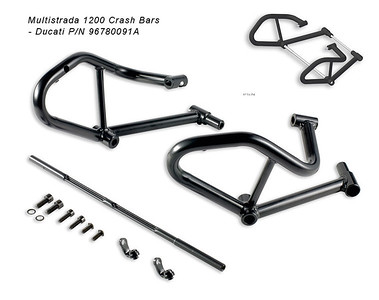 Multistrada 1200 DP Crash Bars - Ducati part number 96780091A  Ducati Multistrada 1200 engine lug crash bars made with steel tubes. This system helps protects the engine from damaged in case of an accident. It has a very good design - utilizing both engine mounting bolts and a third mounting spot to ensure the best protection available for your MTS 1200.