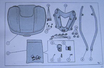 8/8: Fitting parts - Ducati (Givi) Top Case (Top Box / Topcase / Topbox) for the Multistrada 1200 See here for installation instructions (inc fitting the lock barrel): Multistrada 1200 Downloads - Misc Instructions & Other Documents
