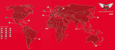 Giro Del Mondo In 80 DOC - Tour Map Paolo Pirozzi's world tour, travelleing 5 continents on a Ducati Multistrada 1200 visiting 80 DOCs (Desmo owners Clubs)  Article here:  http://www.motorcycleinfo.co.uk/index.cfm?fa=contentGeneric.svujwmxokbhbwyoc&pageId=2314121