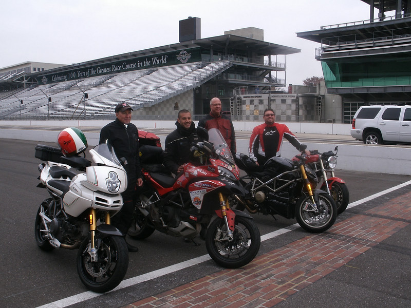 "Paolo visits the infamous Indianapolis Motor Speedway race circuit (Dec2010)<br /> Photo by 'polyjohn'   <a href=""https://picasaweb.google.com/John.Dont.Panek/PaoloPirozziSDucatiTrip"">https://picasaweb.google.com/John.Dont.Panek/PaoloPirozziSDucatiTrip</a><br /> <br /> Article here:  <a href=""http://www.motorcycleinfo.co.uk/index.cfm?fa=contentGeneric.svujwmxokbhbwyoc&pageId=2314121"">http://www.motorcycleinfo.co.uk/index.cfm?fa=contentGeneric.svujwmxokbhbwyoc&pageId=2314121</a>"