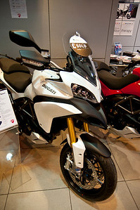 Photos from Ducati.ms forum member 'miloVanMultistrada' (aka Miles) of his Multistrada 1200. It all started here! - December 2010, Ducati Glasgow... brand new Multistrada 1200 in the showroom waiting for the thaw!