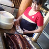 Pam prepping ribs.