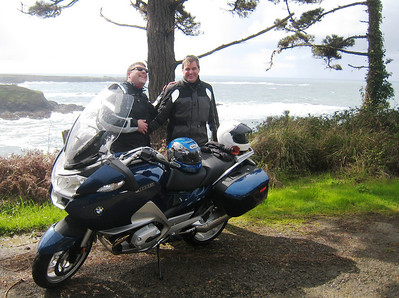 Pre-riding, Cary and I have a few laughs seaside on the way to Hwy 36.