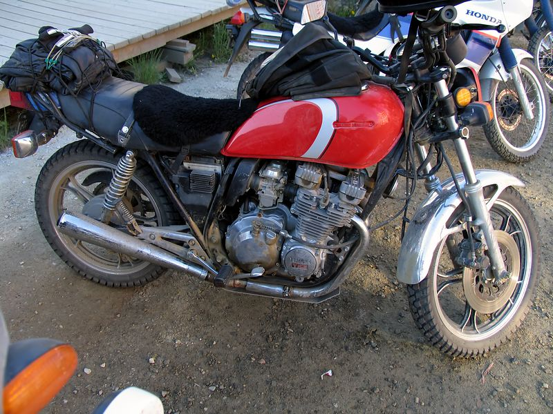 My favorite, the '80's vintage Yamaha Seca 550 with knobby tires, chrome fenders, and a skid plate. Way trick.
