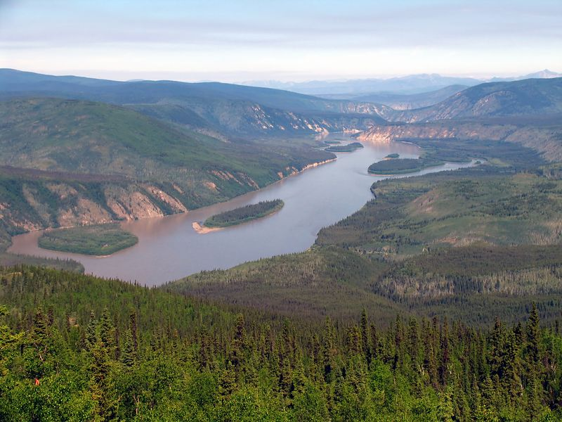 """The Yukon River gorge as seen from """"The Dome""""."""