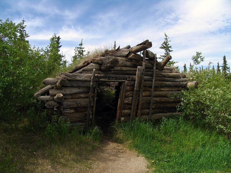 Remnants of sod house by rest area on the TWH