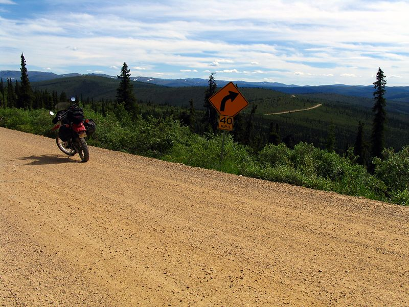 """KLR on the """"Top of the World Highway"""" just past Jack Wade Junction"""
