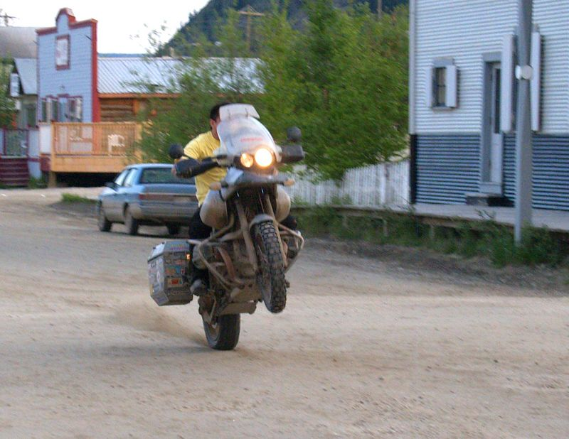 Hackey Moto demonstrates proper water crossing technique