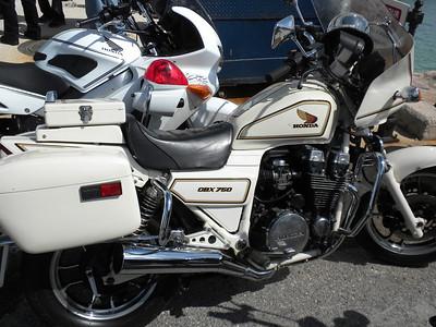 A former Bermuda Police Service Honda CBX750 next to a current Bermuda Police Service Honda VFR800