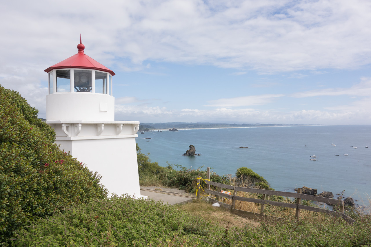 This is a replica of the original lighthouse at Trinidad.  Clam Beach in the distance.    I was a very fine ride.