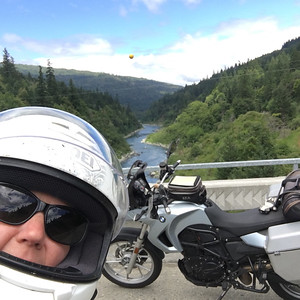My selfie from the bridge over the Klamath.  That's my moto, too.