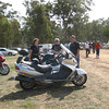 Jules chatting with couple from Seymour. Her Honda CBF1000 & his ST1300. Bergman scooter with sidecar in foreground.
