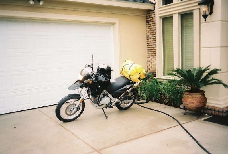 "BMW F650GS nice and clean ready to go... <br /> <br /> Brought: a few basic tools, Zumo GPS, electric pump, quart of oil, replacement tubes, tent and sleeping bag (not used), change of clothes, fleece, rain gear, toiletries, flashlight, etc.<br /> <br /> Highly recommended, almost essential: GPS with Mexico Topo Atlas. I purchased mine from the net at   <a href=""http://www.bicimapas.com.mx/"">http://www.bicimapas.com.mx/</a> for about $150. <br />  <br />  <a href=""http://www.mapas-de-mexico.com/"">http://www.mapas-de-mexico.com/</a> has probably the best printable topo maps of Mexico."