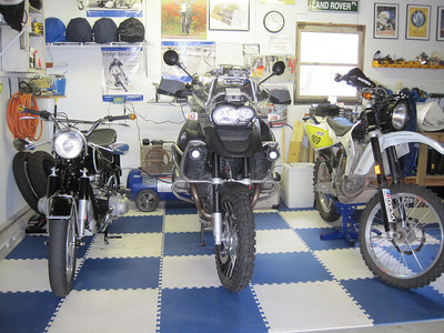 From left: R60 /2, R1200GSA, G450X.  How bikes have changed in 44 years.